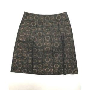 Ann Taylor Black Metallic Circle Dot Print Skirt